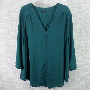 Torrid Green Chiffon Button Up Blouse 3 3X